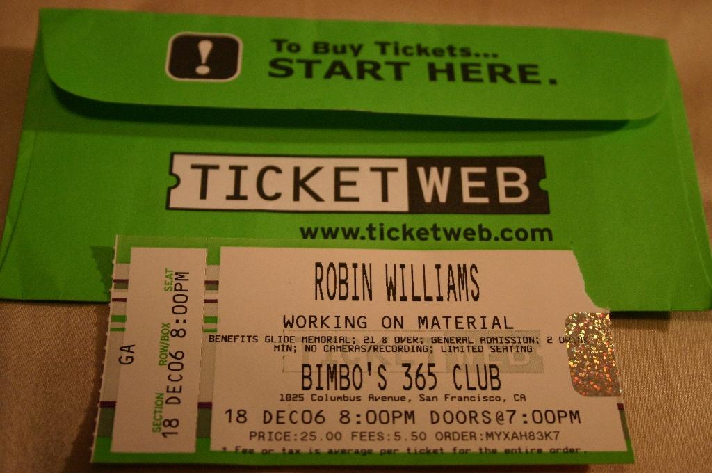 robin williams ticket